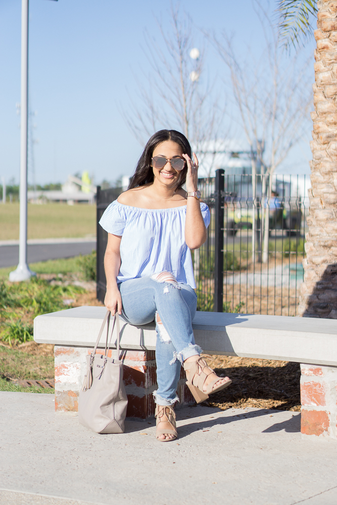 Striped Off the Shoulder Top Perfect for Spring- Monique McHugh Blog